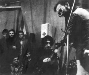 Leningrad. On Peter Lavrova. On the right - S.Letov,   In the middle - V.Makarov, at the left stands having crossed hands - Alexander Kan.   V.Peshkov 1984 Photos