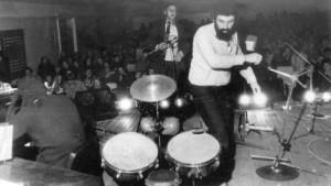 Atonal Syndrome. A concert in Riga. From left to right Oleg   Gorbarenko, Alexander Aksenov and Michael Zhukov. 1984