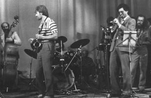 From left to right: Ivars Galenieks (double bass, Latvia), Vladimir Resitskiy, Gedeminas Laurinquavichus (percussion instrument, Lithuania), Oleg Yudanov (percussion instrument), Vyacheslav Gaivoronskiy (trumpet), and Sergey Letov. Jazz Days, Archangelsk.