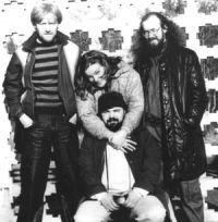 Vladimir Resitskiy, Arkady Kirichenko (sitting), Sergey Letov, and a jazz enthusiast from Minsk city.
